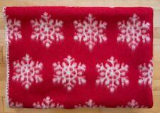 LANA & LINO WOOL BLANKET SNOWFLAKE REVERSIBLE THROW  RED/OFF WHITE NWT