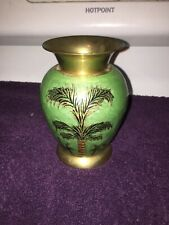 Vintage Green Brass Vase With Palm Trees