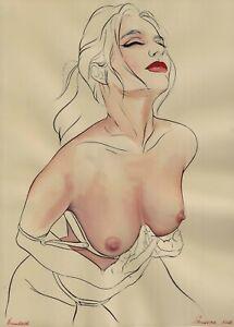 original drawing A3 100BK art samovar Surrealism watercolor female nude Signed