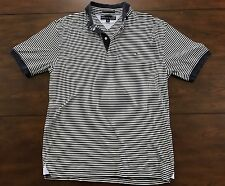 TOMMY HILFIGER POLO MENS Rugby Shirt Navy/White Striped Flag Logo Luxury Cotton