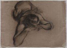 Original 1940s reclining NUDE drawing, Art Deco era, Austrian artist