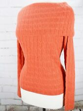 100% Cashmere Sweater Fold Over Boatneck Cable Knit Womens M Orange WILLI SMITH