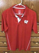Wisconsin Badgers Football/Polo/Coaches Shirt Men Medium M Red & White