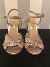 Ladies Size 3 Gold High Heels Chunky Heels New