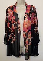 Susan Graver Medium Open Kimono Cardigan Sheer Black & Pink Floral 3/4 Sleeve