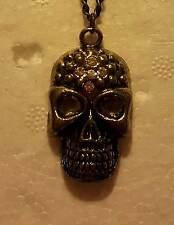 NECKLACE - Lady Biker - Bronze Skull - Excellent Detail - Limited Number - New