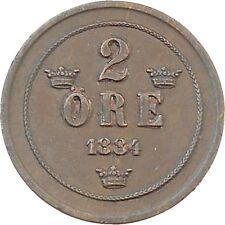 Sweden 2 Ore 1884 Oscar II KM#746 (5150)