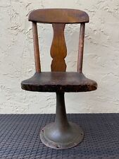 G.S. Perry & Co GS G S Childs Chair Early Wood Primitive Cast Iron Base