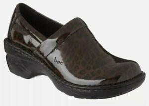 New Women's Size 7 BOC Born Peggy Leopard Print Heeled Clogs Shoes Slip on