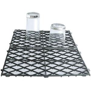 "20 Interlocking Glass Mats Black Plastic Pub Bar Liner Shelf Matting 8"" x 12"""