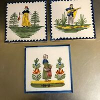Geo Martel Faience Tiles Set 3 Desvres Made France Hand Painted 1939 VTG Figures