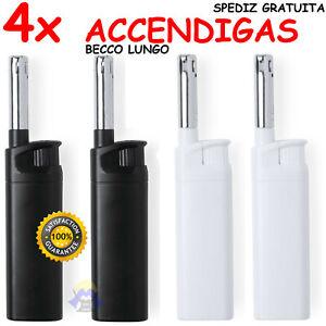 4 ACCENDIGAS Accendino A BECCO LUNGO a GAS FIAMMA per CUCINA Elettrico CAMPEGGIO