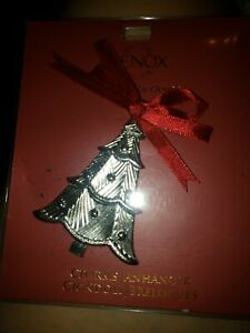 Lenox  Christmas Tree Charm Ornament New Silver with Red Bow
