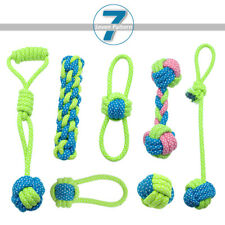 7pcs Braided Cotton Rope Interactive Dog Toy Durable Pet Puppy Tug Play Chew Toy