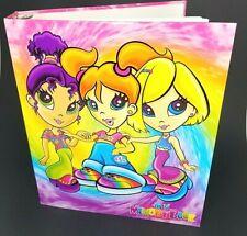 "Vtg 90s Lisa Frank 3 Ring Binder Notebook 3 Hippie Girls Tie Dye 2"" Thickness"