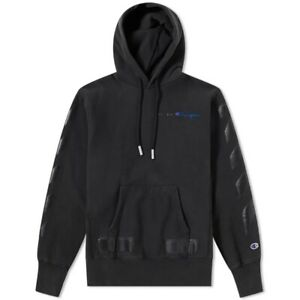 Off White x Champion Hoodie Mens Medium Black Authentic
