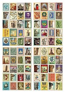 4 Sheets 80pcs Deco Craft Stamp Stickers Diary Sticker Scrapbooking Gift (Italy)