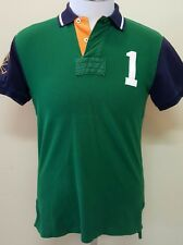 POLO Ralph Lauren Green Rugby Match Shirt Custom Fit  #1 Arm Patch - Size Small