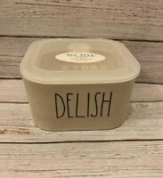 """Rae Dunn by Magenta L/L """"DELISH"""" Square Ceramic Bowl Container With Vented Lid"""