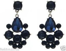 1 pair Handmade  Woman's Blue Crystal Rhinestone Long Ear Stud Hoop earrings 188
