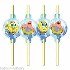 8 Spongebob Squarepants Children's Party Illustrated Plastic Drinking Straws