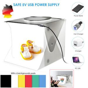 Double LED Mini Photo Studio Photography Light Tent Kit Cube Box 6 Backdrop