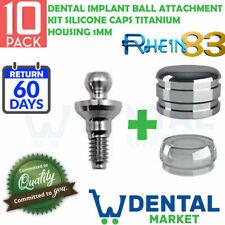 X 10 Dental Implant Ball Attachment Kit Silicone Caps titanium Housing 1mm