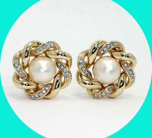 .50CT G VS Diamond Mabe pearl knot button earrings 14K YG round brilliant 11.7MM