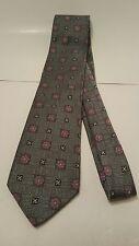 Robert Talbott Best of Class Gray With Floral Pink Power Tie hand made 100% Silk