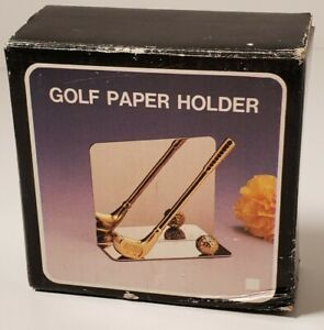 Vintage Golf Club Paper Weight Letter Holder Brass Sports Desk Accessory