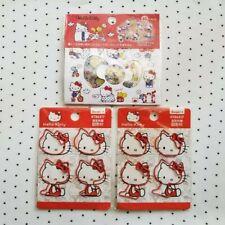 Sanrio Hello Kitty Sticker Flakes & Paper Clips Kawaii Bundle