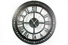 LARGE RUSTIC ANTIQUE BLACK IRON METAL ROMAN NUMERAL CHUNKY ROUND WALL CLOCK