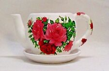 """New listing Made To Order, Handmade Decoupage Ceramic Teapot Planter, Pink Roses, 4"""""""