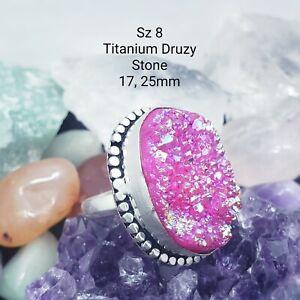 Us-made Titanium Druzy Drusy Pink 925 Sterling Silver Bangle Bracelet
