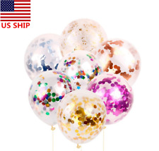 US! 10 PCS 15'' Transparent Clear Colorful Confetti Round Balloon Party Supplies