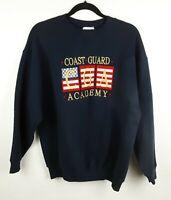 "Vintage Coast Guard Academy ""CGA"" Navy Blue Sweatshirt Embroidered Mens Sz Large"