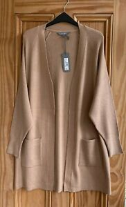 EX PRINCIPLES BRAND NEW Beige Stone Ribbed Long Open Cardigan Size 10 - 22 BNWT
