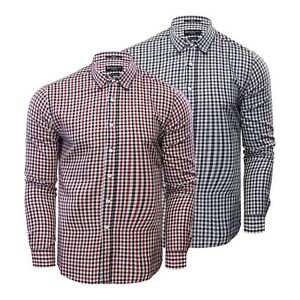 Mens Check Shirt Crosshatch Larix Cotton Long Sleeve Casual Top
