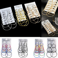 6Pair Fashion Charm Women Gold Silver Big Circle Hoop Ear Stud Clip Earrings Set