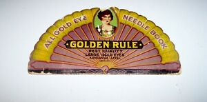 Vintage All Gold Eye Needle Book Golden Rule Sewing Needles Germany