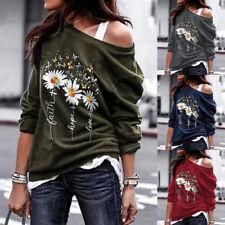 Womens Tee Shirt Floral Ladies Sweatshirt Long Sleeve Blouse Loose Basic Tops