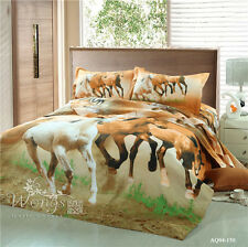 Horse Quilt Doona Duvet Cover Set Queen Size Bedding Animal Pillowcases Au Stock