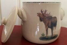 Home & Garden Party Northwoods Bean Pot Lid Cover Moose Stoneware HTF RARE