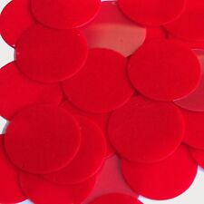 Red Sequins Round Velvet Velour Flocked Fuzzy 1.5 inch Large Couture Paillettes