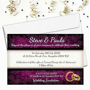 10 Personalised Wedding Invitations / Evening Invites & Envelopes N65