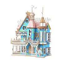 Assembly DIY Education Toy 3D Wooden Model Puzzle Colorful Dream Villa House
