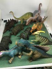 lot of 10 large plastic dinosaurs velociraptor,triceratops, T-rex,ankylosaurus