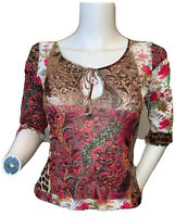 ROBERTO CAVALLI CLASS Size 8 Animal Print Blouse Floral Top Sheer Crop Italy