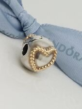 Authentic Pandora Two Tone Braided Heart Clip Charm Silver & 14k Gold 790599