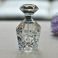 Vintage Empty Refillable Crystal Cut Glass Perfume Bottle Diamond Stopper Gift